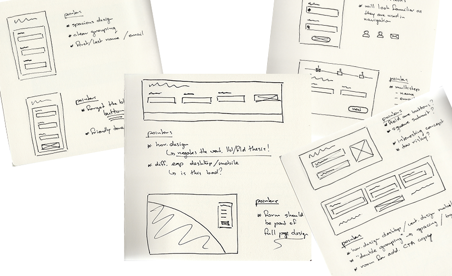 Raw Sketches of a sign-up form