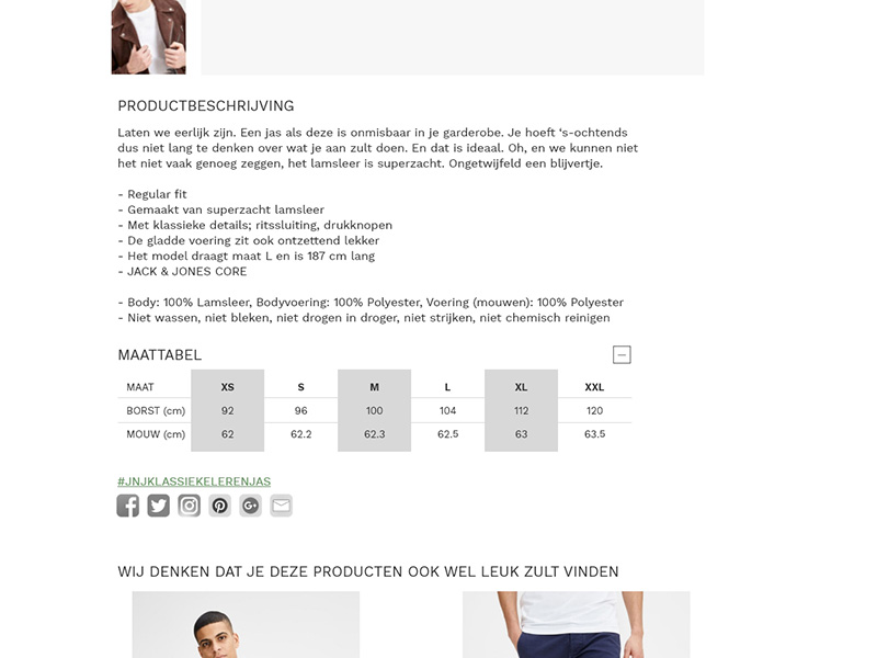 New page design product description