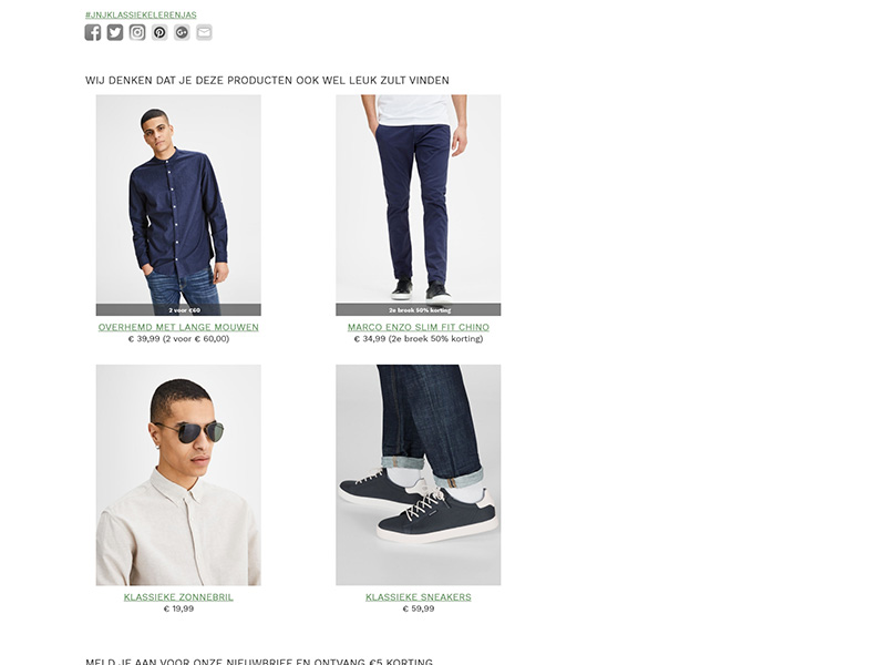 New page design cross-selling section