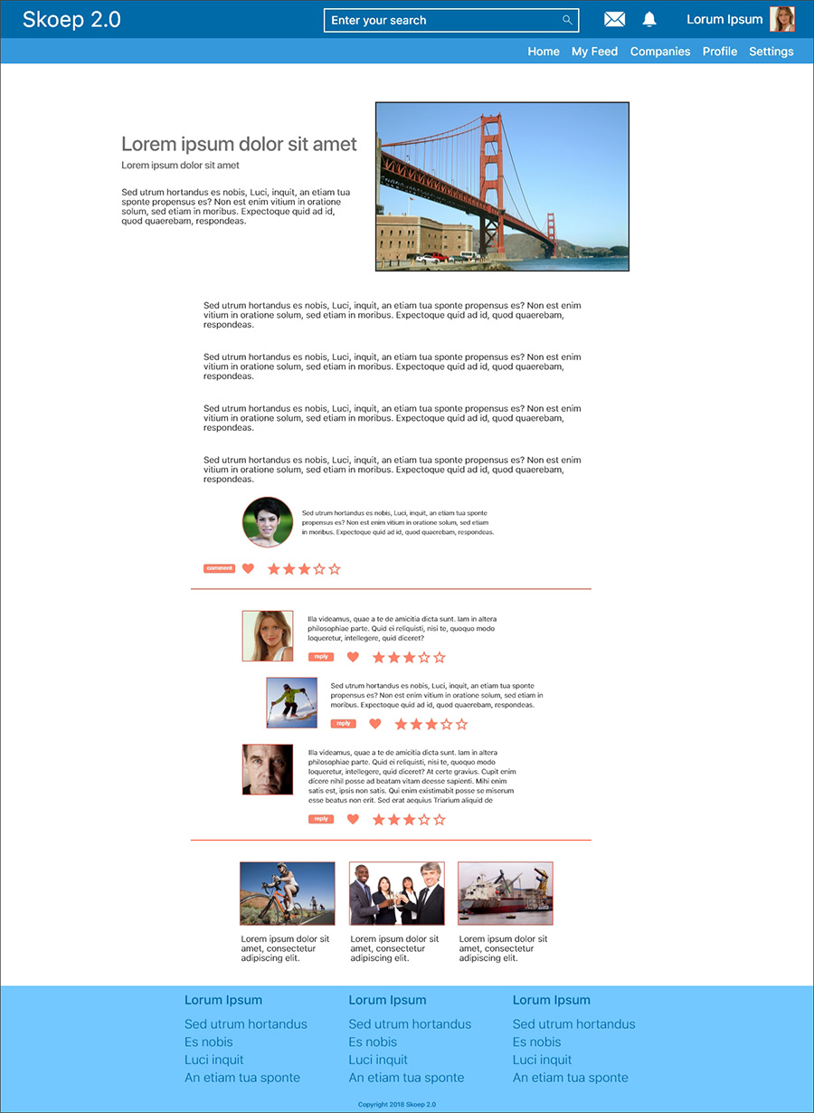 Prototype of an article page for desktop