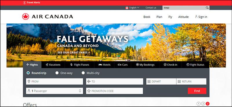 Air Canada Homepage