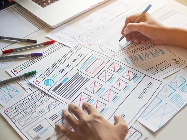 Designer working on Wireframes