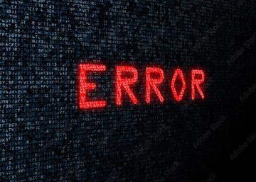 Computer screen showing error as a message